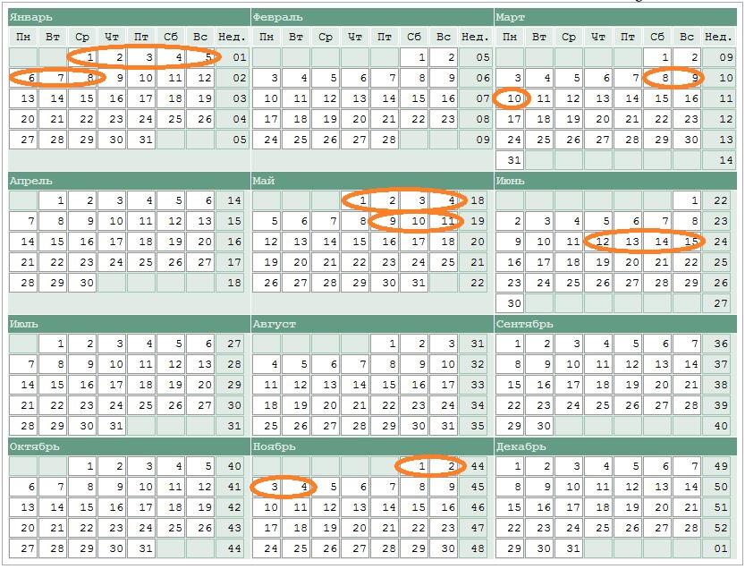 Производственный календарь на 2010 год с сексом
